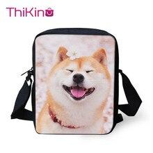 Thikin Shiba Inu Smile Puppy Shoulder Messenger Bag Crossbody Phone Bag for Boys Phone Bag Shopping Bags Mochila Infantil