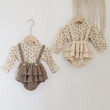 Roupas da menina do bebê do vintage primavera outono de linho algodão meninas floral blusa camisa, macacão vestido recém-nascido bebê meninas roupas