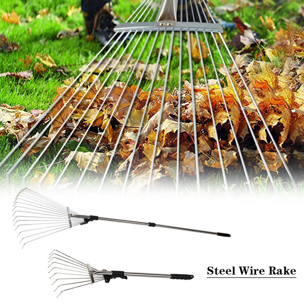 1pcs Nine Teeth Grass Rake Stainless Steel Telescopic Rake Sapless Leaf Garden Tools Potted Shovel Gardening Supplies