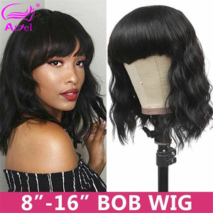 Image 3 - Cheap Body Wave Human Hair Wigs With Bangs Remy Hair Peruvian Body Wave Wigs Full Machine Made Wigs For Black Women 150% Density