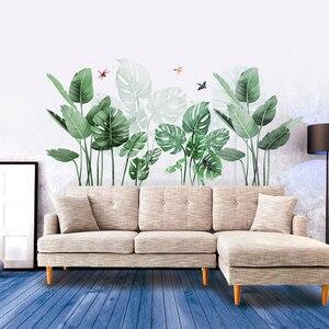 Adesivo de parede 3d de grama verde, adesivos para parede com palmeiras para decoração de cozinha e banheiro