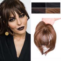 Gros-Pinza con flecos de pelo sintético, flequillo liso de fibra de alta temperatura, extensión de cabello