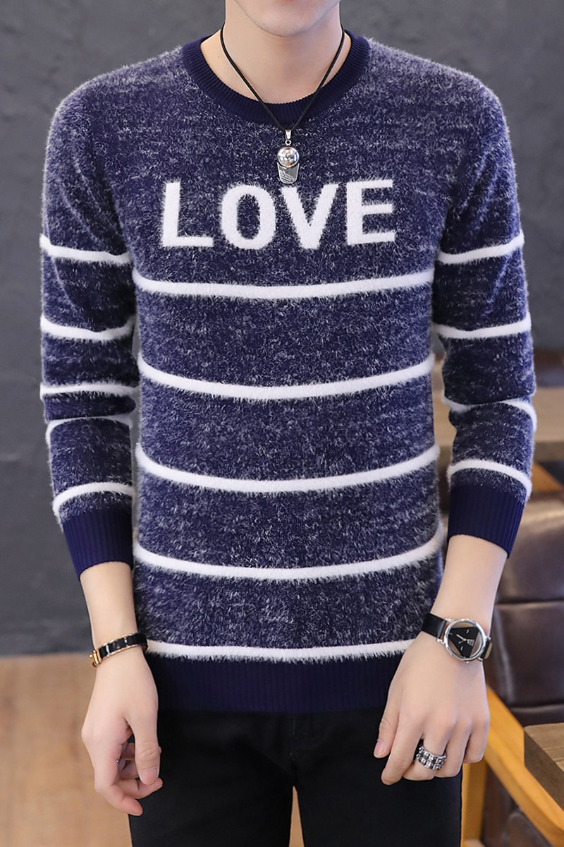2019 Men Winter Warm Knitted Sweater Casual Pullover Round Neck Long Sleeve Slim Top New fashion sweater in Pullovers from Men 39 s Clothing