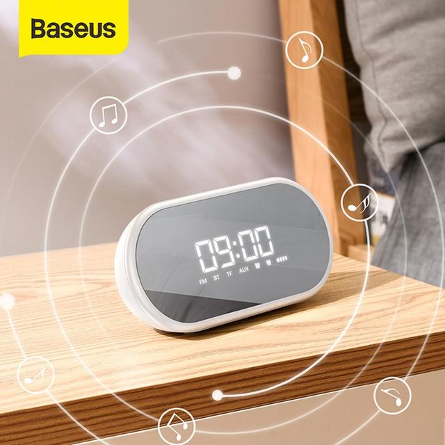 Baseus yüksek kalite Bluetooth hoparlör ile çalar saat fonksiyonu bas ses taşınabilir müzik çalar kablosuz hoparlör halka şeklindeki lamba