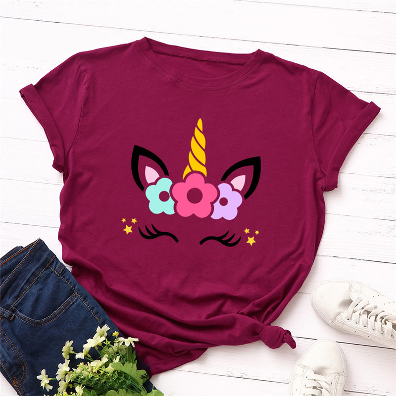 2019 Fashion Plus Size Women T-shirt Cotton Tees Cute Unicorn Printed T Shirt Female O-Neck Short Sleeve Christmas Tshirt Top
