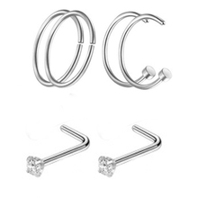 New 6Pcs Women Stainless Steel Nostril Nose Hoop Cuff Stud Rings Clip O