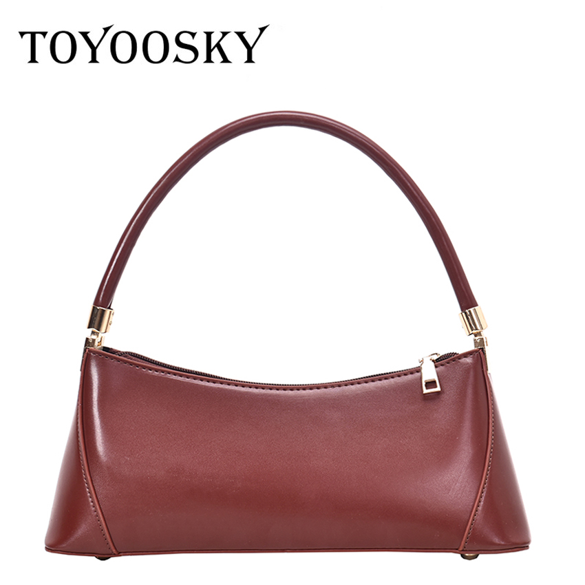 TOYOOSKY Vintage Baguette Bags Ins Hot Designer Women Handbags French Style Ladies Shouler Bag Fashion PU Leather