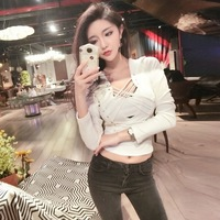 Photo Shoot ~ Autumn Online Celebrity Sexy Nightclub Cool Lace up Tying Base Shirt Slim Fit Long sleeved T shirt Tee Tops