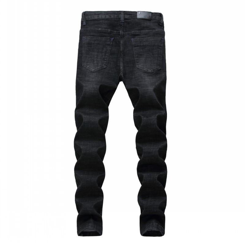 Hot Sale Mens Black Jeans Straight Pencil Pants Punk Floral Embroidery Biker Slim Fit Denim Pants Zipper Casual Jeans Trousers
