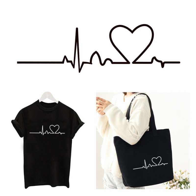 Neue Patches schwarz weiß Liebe Herz Radio welle flügel DIY Patch für Kleidung Aufkleber frauen T-shirt Wärme Transfer Elektrokardiogramm