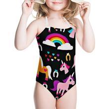 One-Piece Swimsuits Kids Swimwear Bathing-Suit Girl HYCOOL Cartoon for Teen Heart-Shape