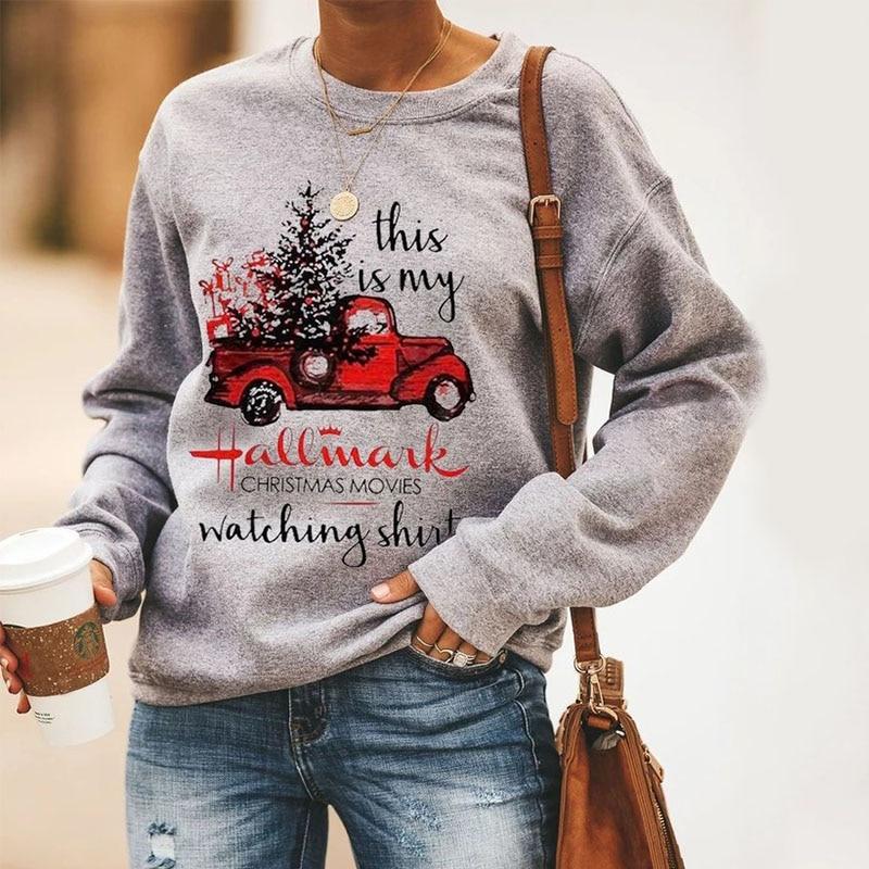 Hallmark Christmas Movies Watching Sweatshirt Women Festival Clothing Printed Tracksuit Merry Christmas Sweatshirts Plus Size