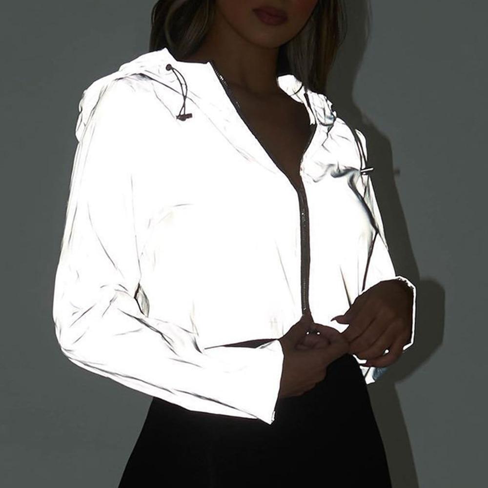 NIBESSER Women Fashion Shiny Cropped Jacket Fashion Spring Zipper Night Reflection Short Coat Streetwear Casual Design Outwear