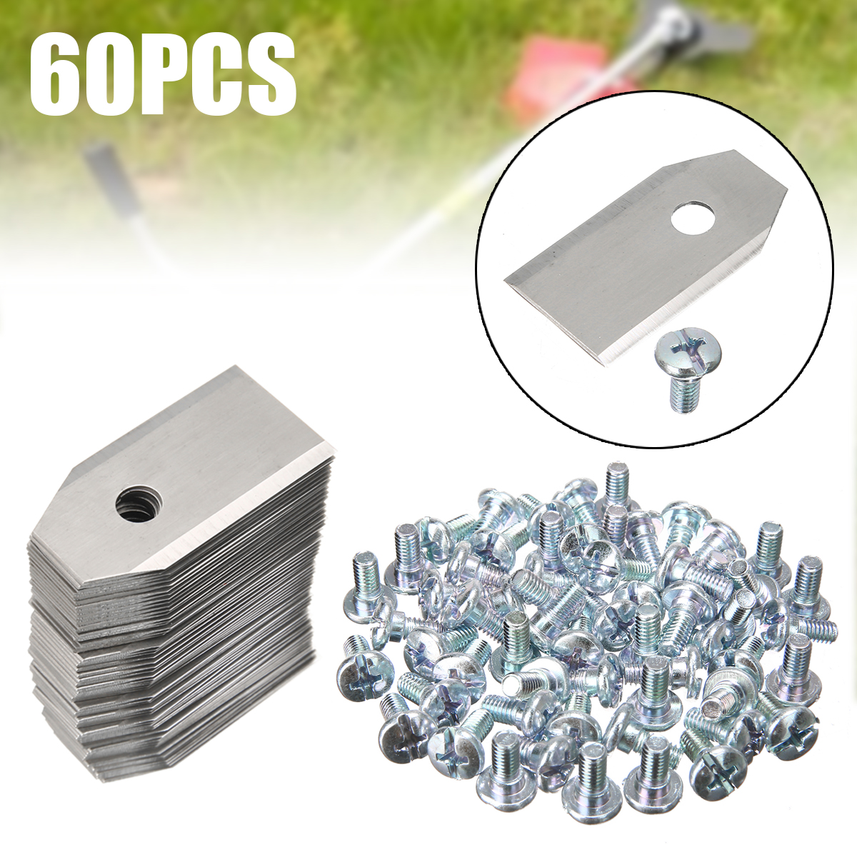 60Pcs 35x18x0.75mm Silver Stainless Steel Replacement Blade For Lawn Mower Parts For Robot Mower Garden Tools