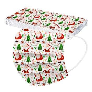 10 Navidad Mascarillas Desechable Masques Noel Adulte Jetable Christmas Disposable Face Mask Macka Mascherines Maske Mondmaskers