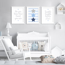 Blue Grey Little Stars Boys Room Decor Baby Nursery Wall Art Canvas Painting Pop Poster Print Pictures Gift Bedroom Home Decor(China)