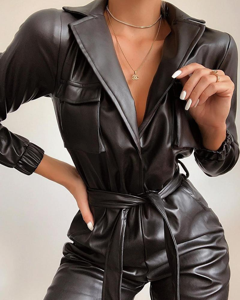 PU Leather Jumpsuits For Women Turn Down Neck Long Sleeve High Waist Belt Jumpsuit Female