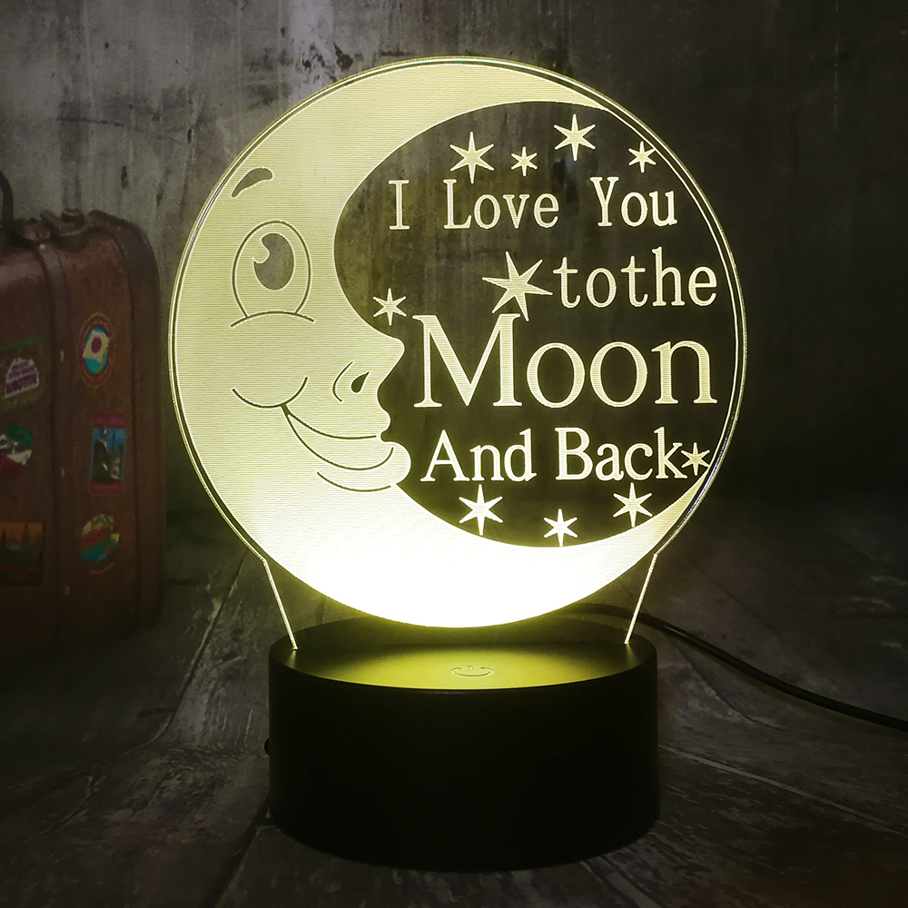 I Love You To The Moon And Back 3D LED Night Light 7 Color Desk Lamp Kid Gift Home Decor Romantic Valentine's Day Girlfriend
