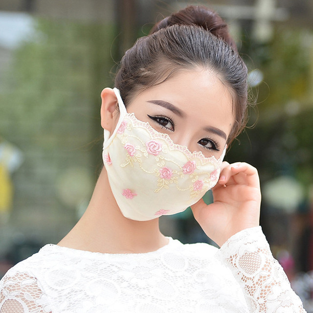 Korean face mask floral Embroidery cotton breathable masks protection dustproof cycling maske for women mondkapjes wasbaar 2