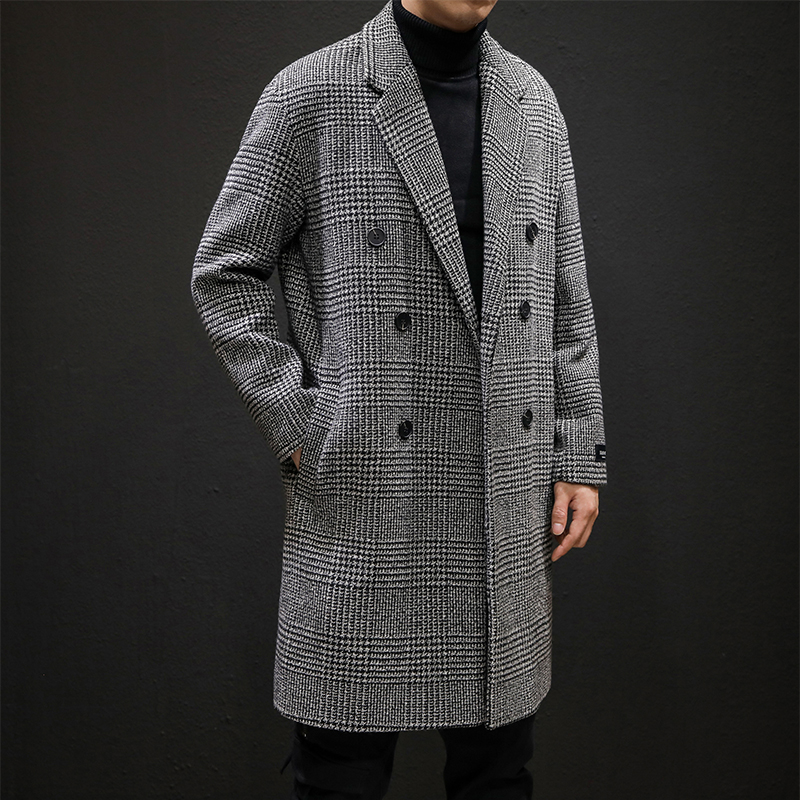 Men Turn-down Collar Long Woollen Wind Coat Casual Double Breasted Mens Wool Overcoat Winter Houndstooth Jacket