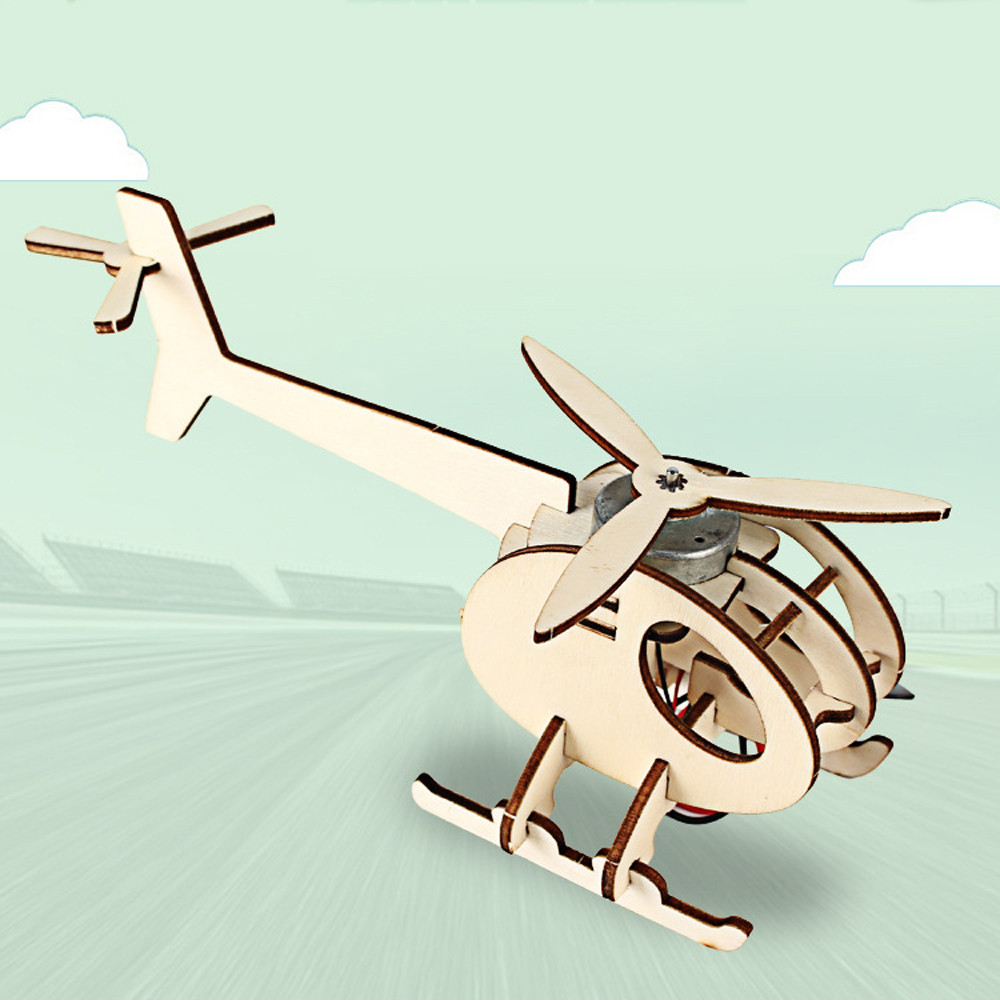 Puzzle Game Model Building Kits DIY 3D Wooden Helicopter Children Natural Color Aircraft Toy Educational Hobbies For Kids Gift