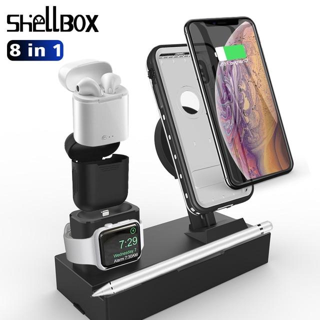 多機能ワイヤレス充電器 Iphone 7 8 X XS 最大 XR ドックホルダー負荷 8 で 1 充電パッド高速充電器 Airpods 用
