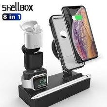 Multifunções Carregador Sem Fio Para iPhone 7 8 X XS MAX XR Titular Doca de carga 8 em 1 Almofada de Carregamento Rápido carregador de Mesa para Airpods