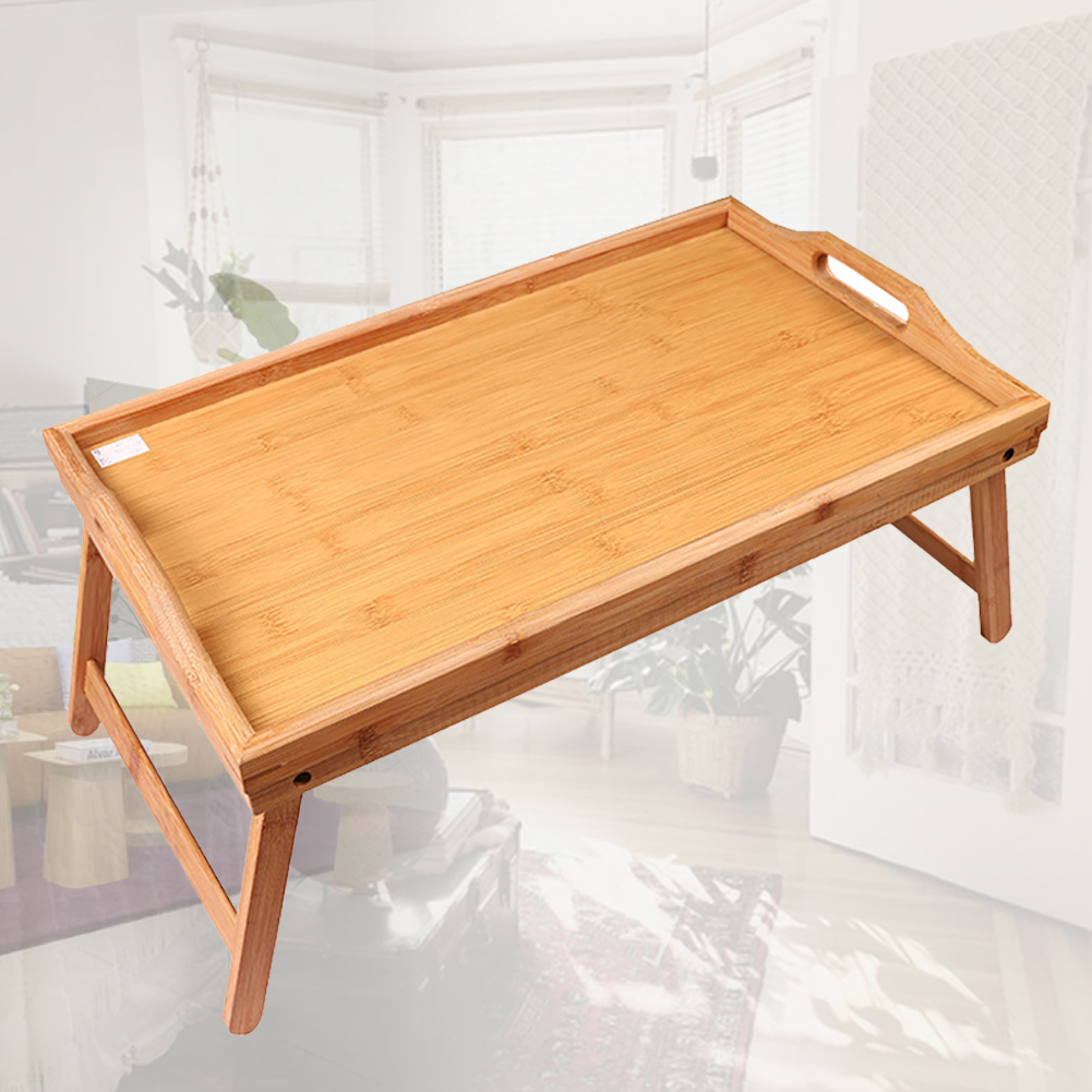Kids Reading Bed Table Breakfast Wood Home Foldable Laptop Desk Multipurpose Drawing Lap Tray Serving Portable Solid
