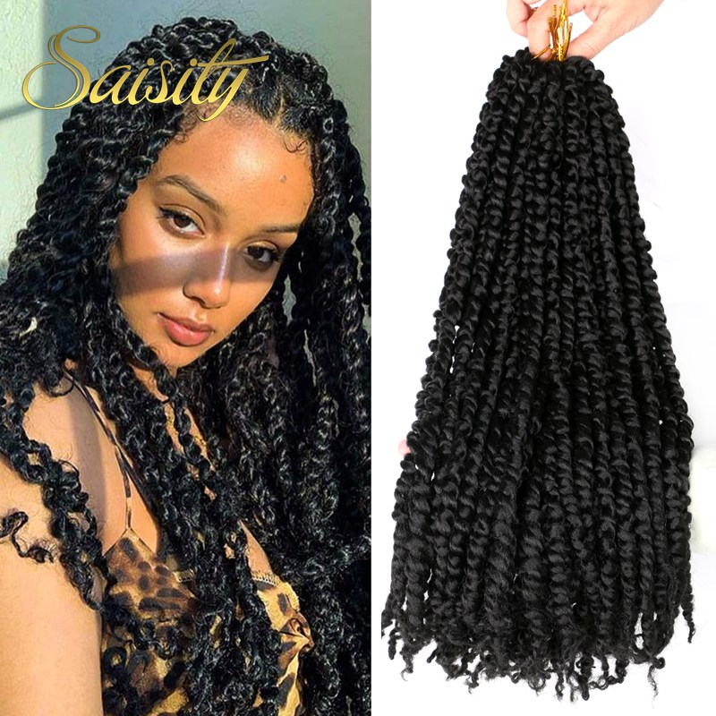 Saisity18inch Ombre Bomb Twist Pre Looped Braid Crochet Braiding Synthetic Crochet Hair Extension Pre-twisted Passion Twist Hair image