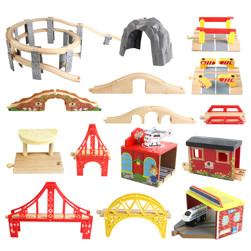 15 Styles Wooden Train Track Railway Bridge Accessories Variety Train With Compatible Kids Assembly Toys Tunnel Cross Bridge