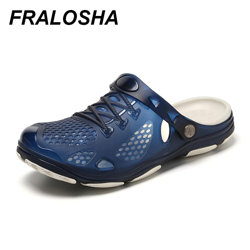 FRALOSHA Summer Casual Men's Ocean Water Shoes Flat Shoes Breathable Non-Slip Sandals Hollow Slippers Beach Hole Shoes Outdoor