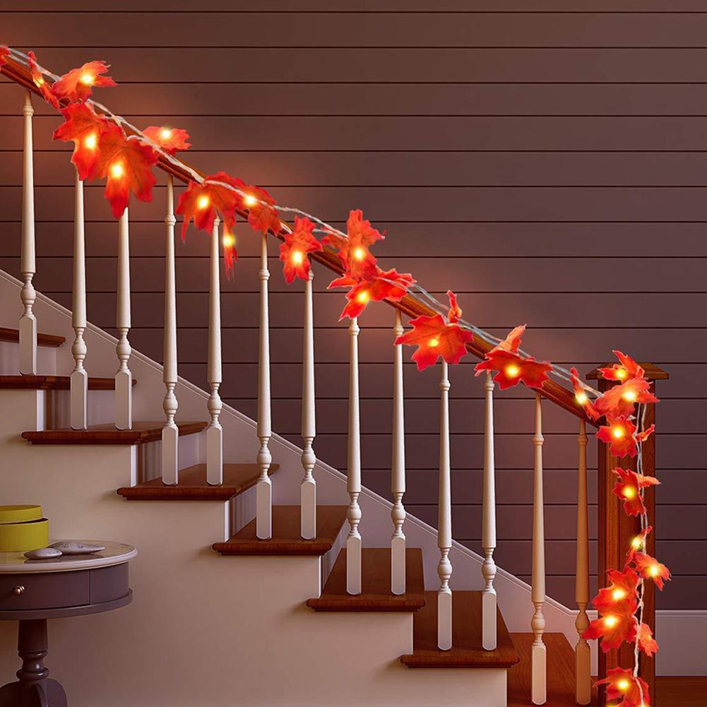 2m 20LED LED String Lamps Battery Operated Maple Leaf Shaped Fairy Strings Decorative Lighting For Party WeddingHoliday