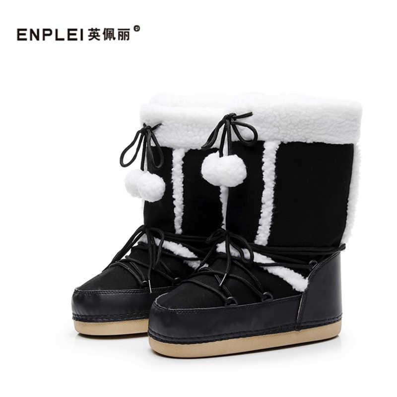 ENPLEI snowboots Winter ski laarzen vrouwen koude-proof laarzen warm mid-kalf ruimte laarzen anti- slip katoenen schoenen 35-40