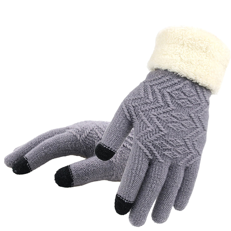 Winter Women Knitted Gloves Touch Screen Female Gloves Thicken Warm Full Finger Soft Stretch Knit Mittens Ladies Guantes