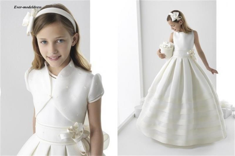 Purely Holy First Communion   Dresses   2019 O-Neck Ball Gowns   Flower     Girls     Dresses   Floor Length With Jackets Vestido De Daminha