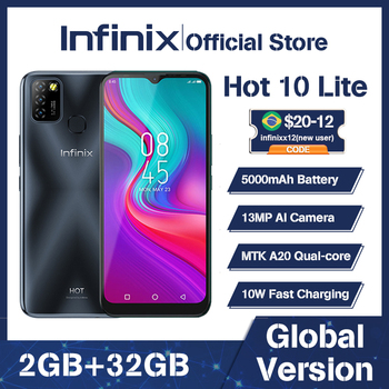 100% Original Infinix Hot 10 Lite Global Version smart phone  6.6 inch Helio A20 2GB 32GB Face unlock 13MP Triple Camera 1