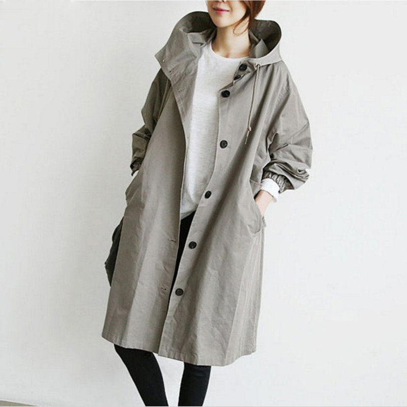 New Female   Trench   Coat Spring Fall Women Costume Loose British Windbreaker Medium Long Coat Hooded Casual Tops Outerwear K180