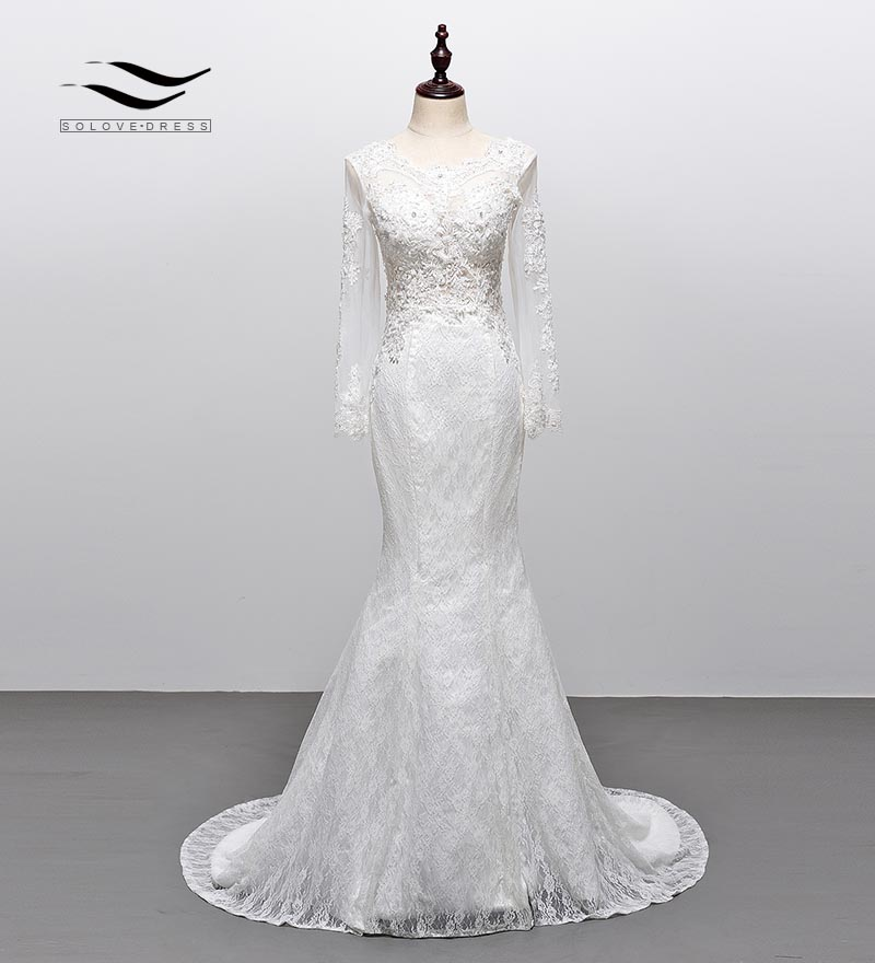 Solovedress Long Sleeves Wedding Dress Elegant Appliques Scoop Neck Lace Backless Wedding Gown Illusion With Lace Up SLW106