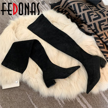 Shoes Woman Pointed-Tie Over-The-Knee-Boots Working FEDONAS High-Heels Winter Lady Elegant