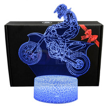 X Game Motorcycle Model 3D Table Lamp With Remote Control Room Decoration Light Motorcycle figurine Night