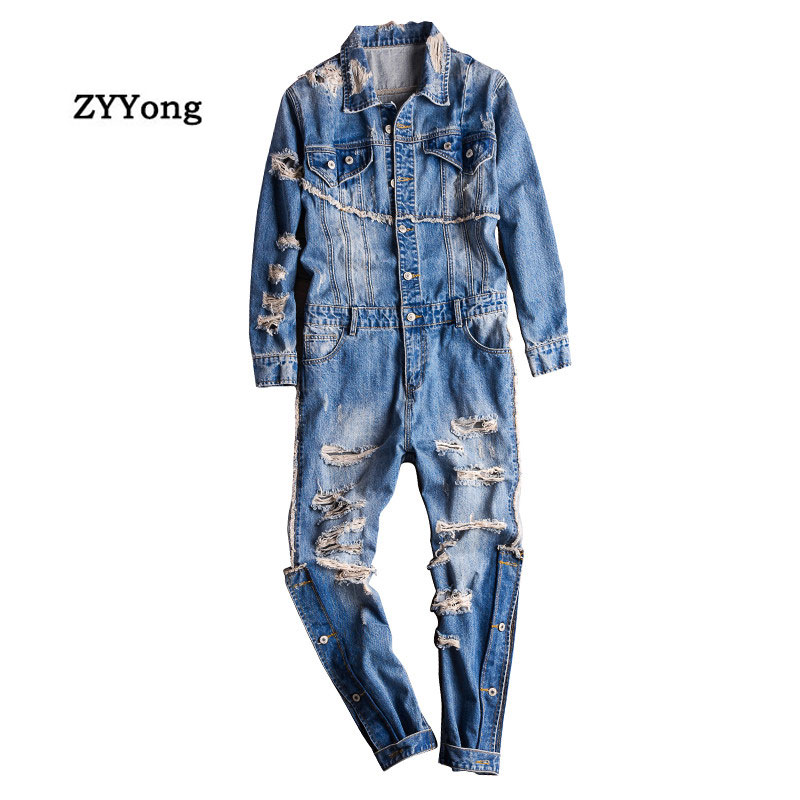 High Street Men Denim Jumpsuit Hip Hop Streetwear Hole Ripped Jeans Overalls Tattered Cargo Pants Fashion Freight Trousers