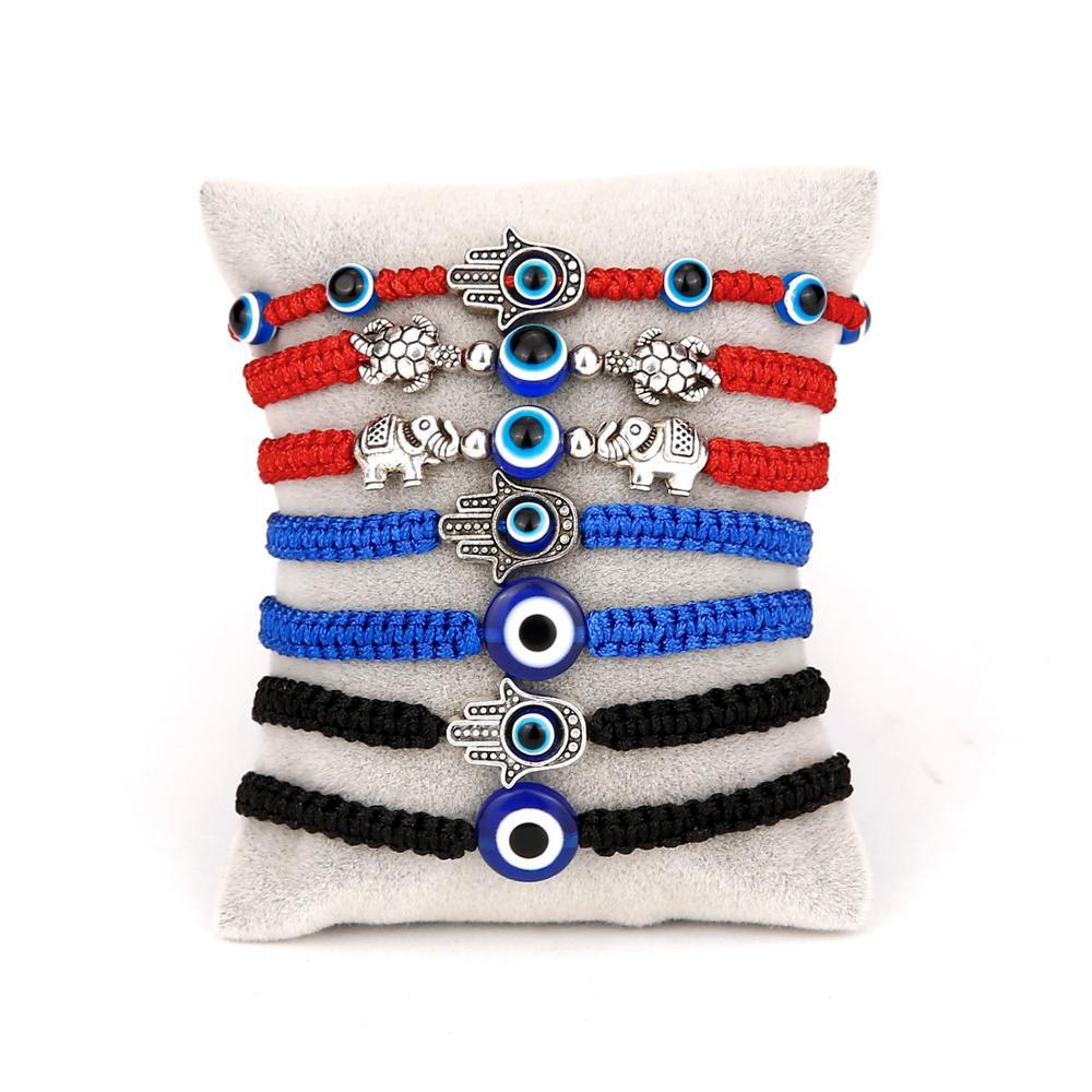 Браслет-талисман на удачу с голубым сглаза, черная и красная нить ручной работы, веревочный браслет для пар, ювелирные изделия на удачу для ж...