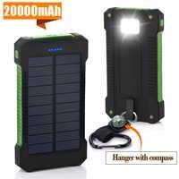 Dla XIAOMI iPhone X 8 20000 mah przenośny powerbank solarny 20000mAh bateria zewnętrzna podwójne porty powerbank ładowarka do telefonu komórkowego