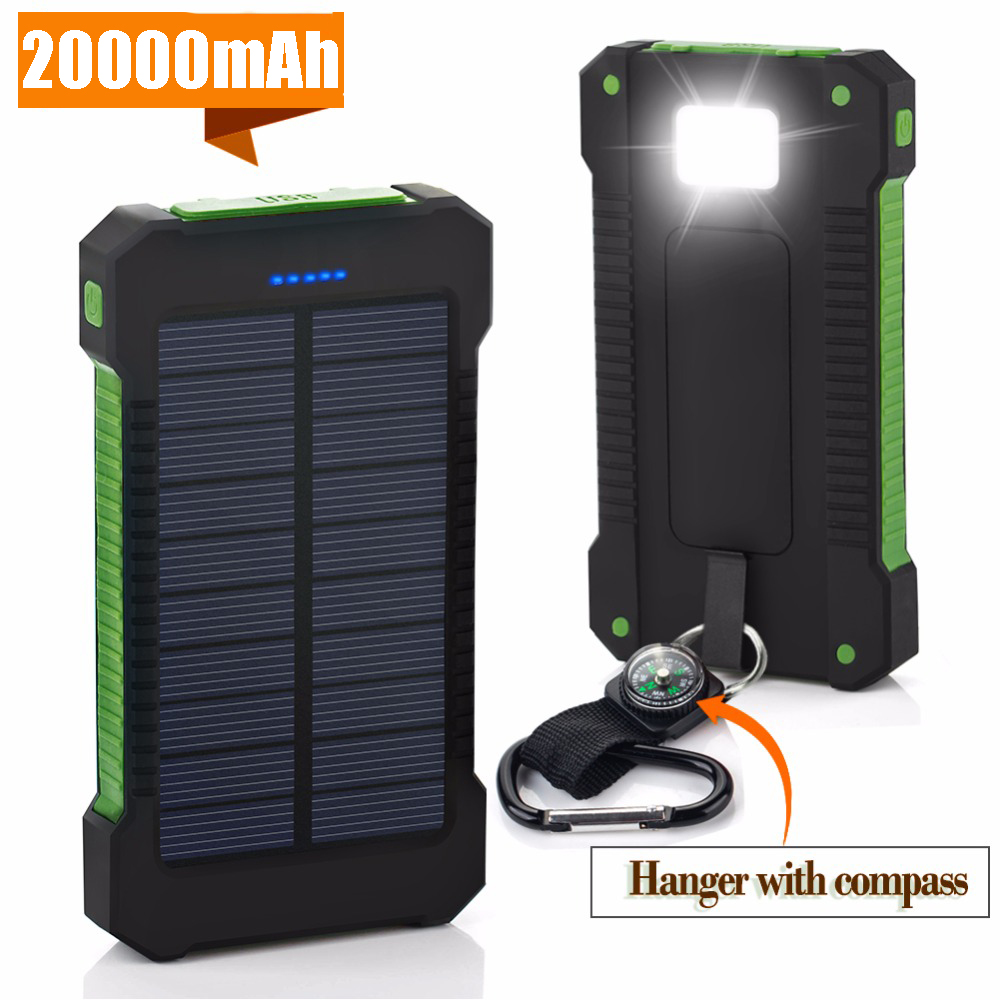 For XIAOMI iPhone X 8 20000 mah Portable <font><b>Solar</b></font> <font><b>Power</b></font> <font><b>Bank</b></font> <font><b>20000mAh</b></font> <font><b>External</b></font> <font><b>Battery</b></font> DUAL Ports powerbank Mobile Phone Charger image