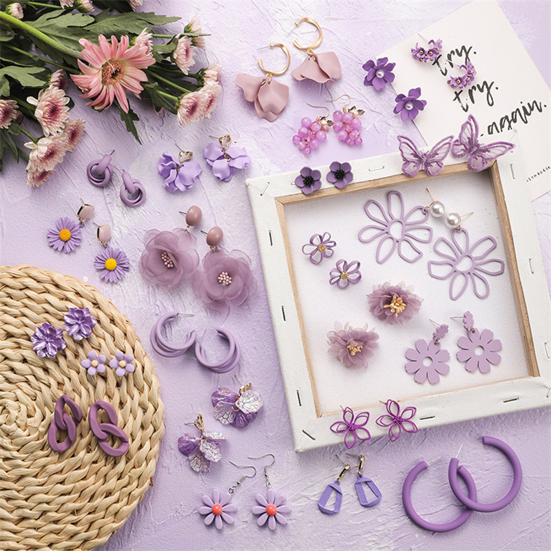 Fashion Purple Shell Heart Butterfly Flower Petal Stud Earrings Trendy Fresh Earring Elegant Earrings For Women Wedding Jewelry
