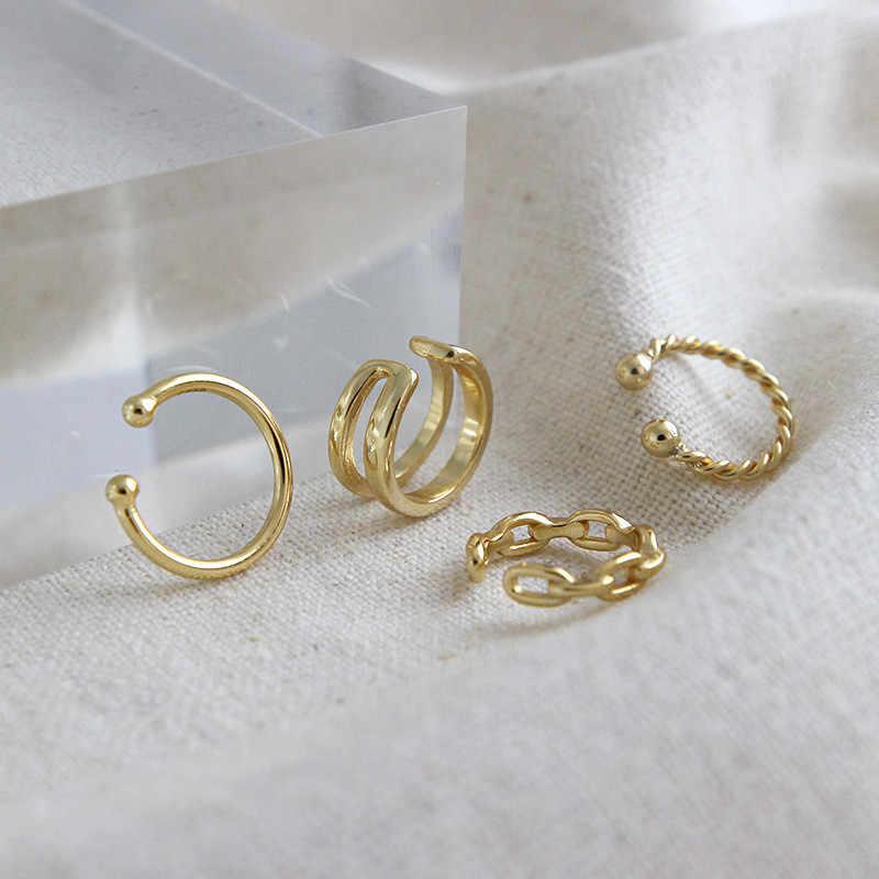 DAIWUJAN 100% 925 argent Sterling Piercing Double couche chaîne torsadé Surface or oreille manchette pince boucles d'oreilles pour les femmes