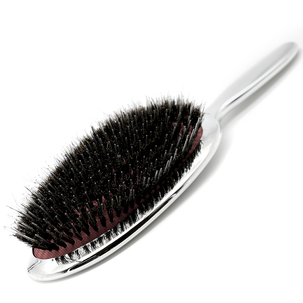 High Quality Pure Boar Bristle Hair Paddle Brush Antistatic Salon Oval Hair Brush With Air Bag Brushes Comb In Silver And Gold
