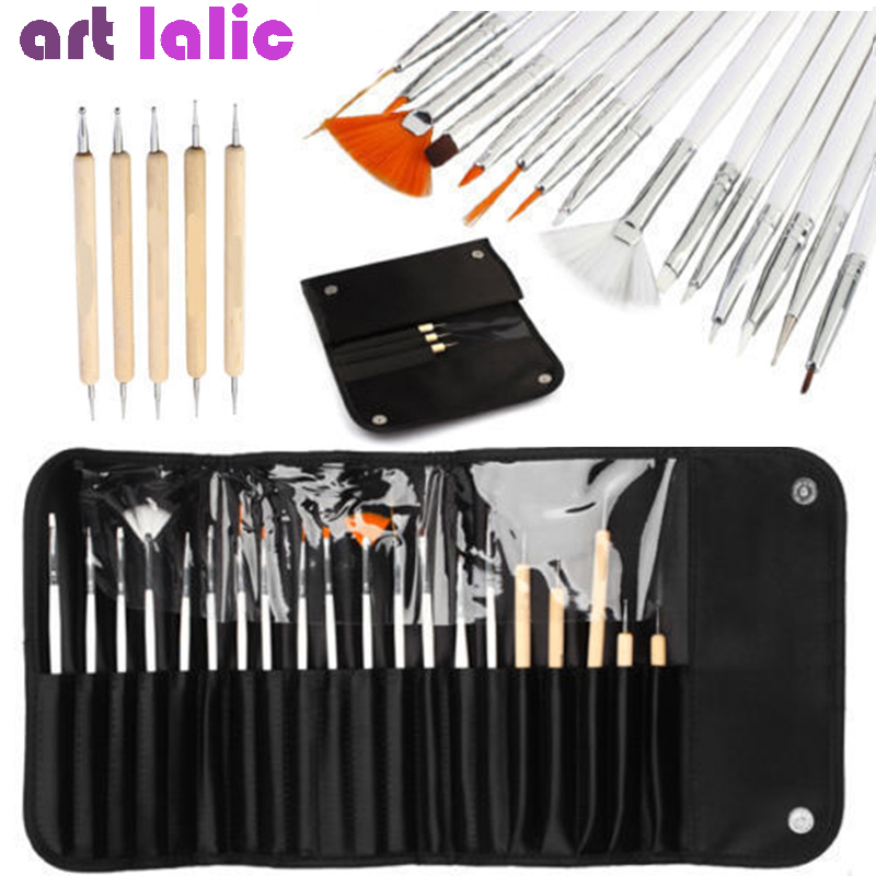 20 Pcs/Set Nail Art Decorations Brush Set Tools Professional Painting Pen For False Nail Tips UV Nail Gel Polish + Pouch Bag
