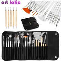 20 pçs/set Decorações Da Arte Do Prego Jogo de Escova Ferramentas de Pintura Profissional Pen para Unhas Falsas Dicas de Unhas de Gel UV Polonês + Bag Bolsa