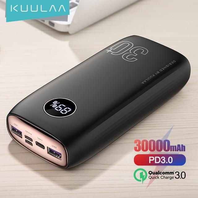 Внешний аккумулятор KUULAA на 30 000 мАч с портами USB Type-C и поддержкой быстрой зарядки 1